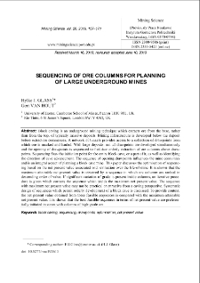Sequencing of ore columns for planning of large underground mines