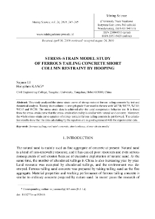 Stress-strain model study of ferrous tailing concrete short column restraint by hooping