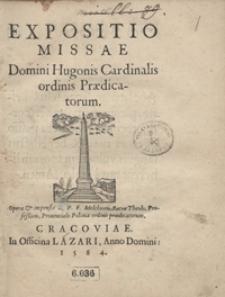 Expositio Missae Domini Hugonis ordinis Praedicatorum