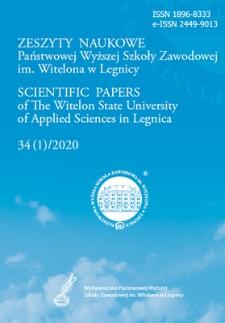 Zeszyty Naukowe Państwowej Wyższej Szkoły Zawodowej im. Witelona w Legnicy, nr 34 (1)/2020