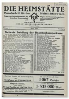 Die Heimstätte : Monatsschrift für das Heimstättenwesen. 7. Jahrgang, April 1930, Nummer 4