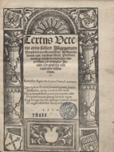 Textus Veteris artis scilicet Isagogarum Porphirij predicamentor[um] Aristotelis simul cum duobus libris Perihermenias eiusdem emendate [...]. - Var. a.