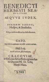 Benedicti Herbesti Neapolitani Aequus Iudex [...]
