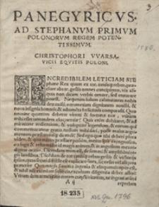 Panegyricus Ad Stephanum I Polonorum Regem Et Magnum Lituanorum Ducem [...]