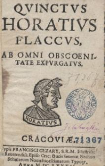 Quinctus [sic] Horatius Flaccus Ab Omni Obscoenitate Expurgatus