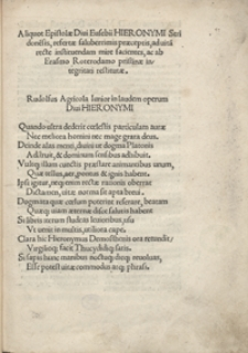 Aliquot Epistolae Divi Eusebii Hieronymi Stridone[n]sis [...] ab Erasmo Roterodamo pristinae integritati restitutae