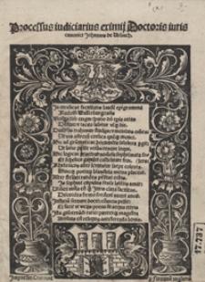 Processus iudiciarius eximij Doctoris iuris canonici Johannis de Urbach