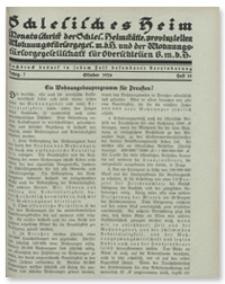 Schlesisches Heim : Monatsschrift der Schlesischen Heimstätte, provinziellen Wohnungsfürsorgegesellschaft m. b. H.und der Wohnungsfürsorgegesellschaft für Oberschlesien G. m. b. H. Jahrgang 7, Oktober 1926, Heft 10