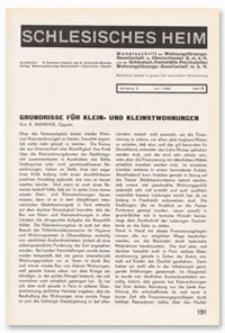 Schlesisches Heim : Monatsschrift der Wohnungsfürsorge-Gesellschaft für Oberschlesien G. m. b. H. und der Schlesisch. Heimstätte Provinziellen Wohnungsfürsorge-Gesellschaft m. b. H. Jahrgang 9, Juni 1928, Heft 6