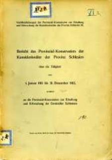 Bericht des Provinzial- Konservators der Kunstdenkmäler der Provinz Schlesien über die Tätigkeit vom 1. Januar 1911 bis 31. Dezember 1912