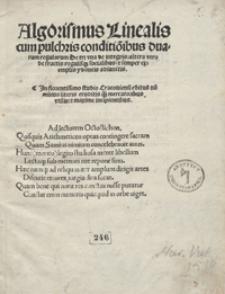 Algoritmus Linealis cum pulchris conditio[n]ibus duarum regularum De tri, una de integris, altera vero de fractis, regulisq[ue] socialibus et semper exemplis ydoneis adiunctis [...]