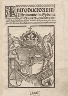 Introductorium Astronomie in Ephemerides [...]. - War. B