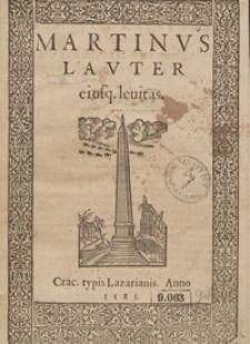 Martinus Lauter eiusq[ue] levitas