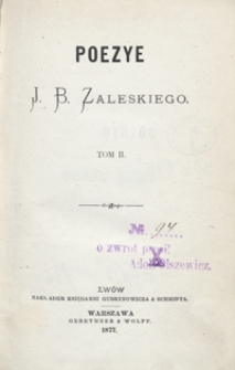 Poezye J. B. Zaleskiego. Tom II