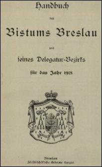 Handbuch des Bistums Breslau und seines Delegatur-Bezirks für das Jahr 1918