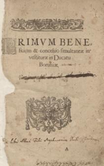 Primum Beneficium et concessio simultaneae investiturae in Ducatu Borussiae