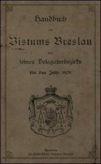 Handbuch des Bistums Breslau und seines Delegaturbezirks für das Jahr 1920
