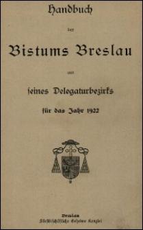 Handbuch des Bistums Breslau und seines Delegaturbezirks für das Jahr 1922
