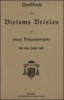 Handbuch des Bistums Breslau und seines Delegaturbezirks für das Jahr 1921