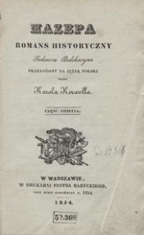 Mazepa : romans historyczny Tadeusza Bułcharyna. Część trzecia