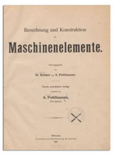 Berechnung und Konstruktion der Maschinenelemente