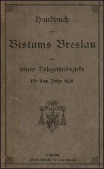 Handbuch des Bistums Breslau und seines Delegaturbezirks für das Jahr 1928