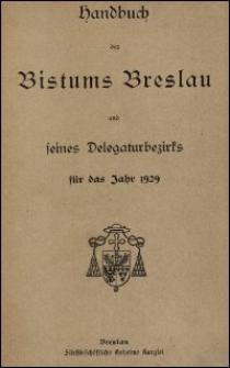 Handbuch des Bistums Breslau und seines Delegaturbezirks für das Jahr 1929