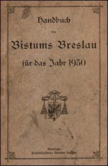 Handbuch des Bistums Breslau für das Jahr 1930