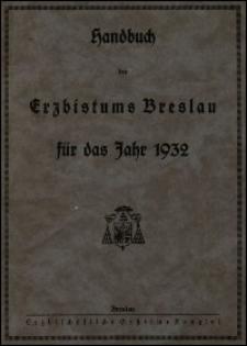 Handbuch des Erzbistums Breslau für das Jahr 1932