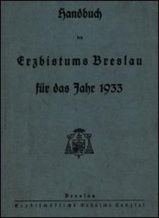 Handbuch des Erzbistums Breslau für das Jahr 1933