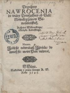 Przyczyny Nawrocenia do wiary Powszechney od Sekt Nowokrzczeńcow Samosateńskich [...]. - War. A