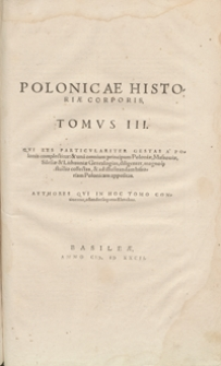 Polonicae Historiae Corporis Tomus III. - War. A