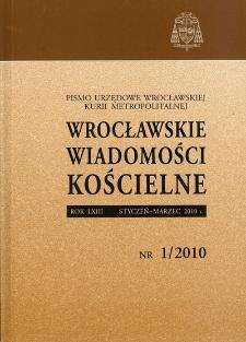 Wrocławskie Wiadomości Kościelne. R. 63 (2010), nr 1