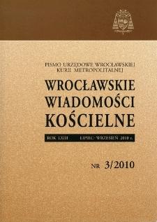 Wrocławskie Wiadomości Kościelne. R. 63 (2010), nr 3