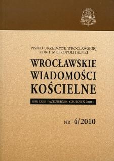 Wrocławskie Wiadomości Kościelne. R. 63 (2010), nr 4