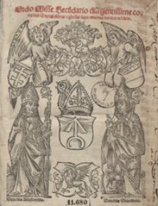 Ordo Misse Secu[n]dario diligentissime correctus cu[m] notabilibus [e]t glossis sacri canonis noviter additis. - War. G
