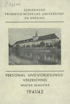 Personal- und Vorlesungs-Verzeichnis : Winter-Semester 1941/42