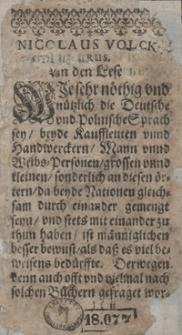 Viertzig Dialogi oder lustige Arten zu reden von allerhand Sachen [...] in Deutscher und Polonischer Sprach