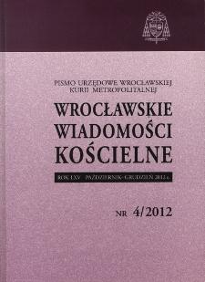 Wrocławskie Wiadomości Kościelne. R. 65 (2012), nr 4