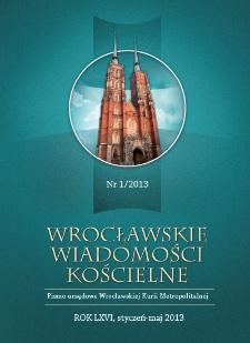 Wrocławskie Wiadomości Kościelne. R. 66 (2013), nr 1