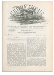 Prometheus : Illustrirte Wochenschrift über die Fortschritte in Gewerbe, Industrie und Wissenschaft. 3. Jahrgang, 1892, Nr 145