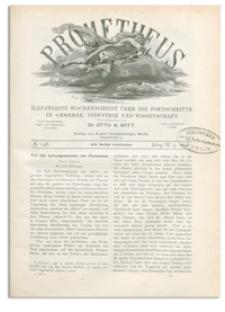 Prometheus : Illustrirte Wochenschrift über die Fortschritte in Gewerbe, Industrie und Wissenschaft. 3. Jahrgang, 1892, Nr 148